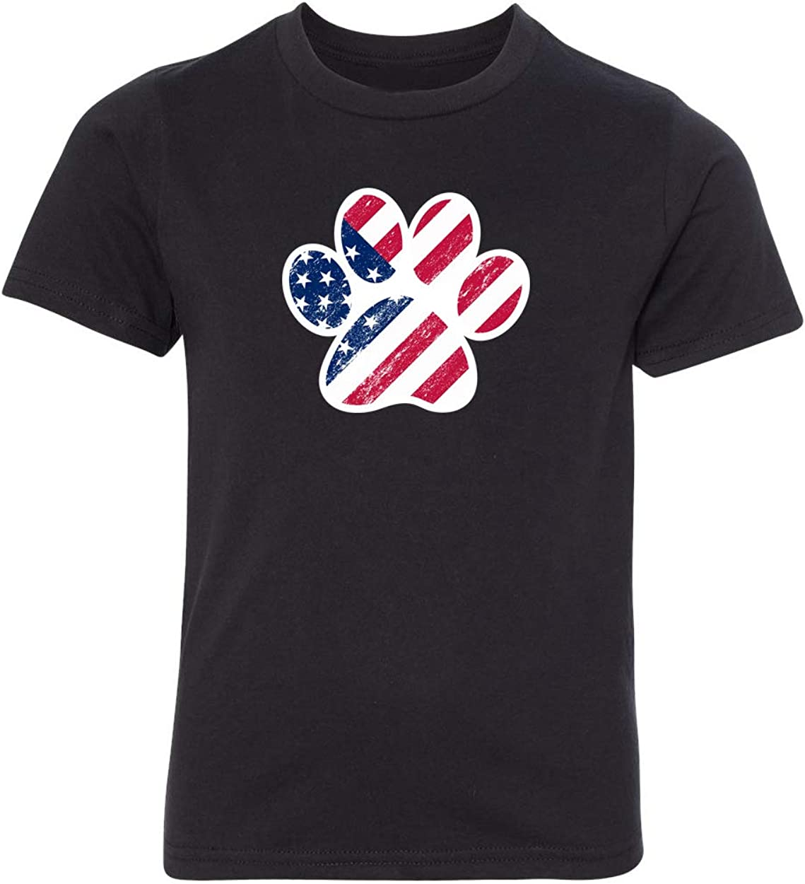 American Flag Dog Paw Kids Graphic T-Shirts 4th of July T-Shirts