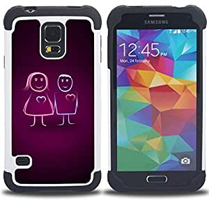 GIFT CHOICE / Defensor Cubierta de protección completa Flexible TPU Silicona + Duro PC Estuche protector Cáscara Funda Caso / Combo Case for Samsung Galaxy S5 V SM-G900 // Cute Line Couple //