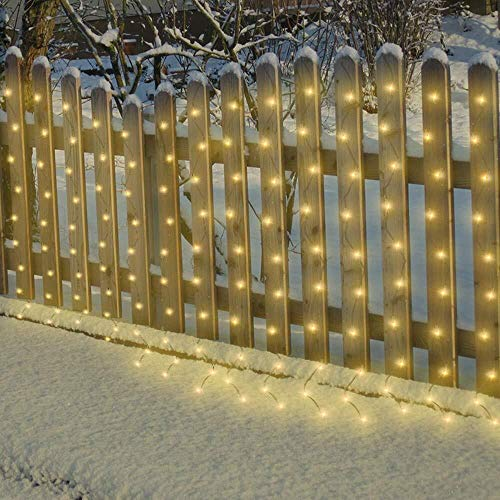 Curtain Fairy Lights Outdoor Garden String Lights Led Waterproof, Solar or Battery Powered, 8 Light Modes, 120Led 9.8ftx9.8ft Patio String Light for House Fence Deck Bedroom Wall Decor(Warm White)