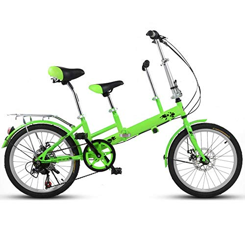 YUMEIGE Kids' Bikes 20 Inch Bicycle, Mother and Child Tandem Folding Shifting Disc Brake Fence Safety Belt Double Mother Pick Up Child Bicycle (Color : Green)