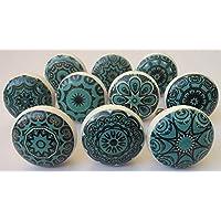 Keramische knoppen, gemengd, in retro-look, 10 stuks, bloemendesign, handgrepen voor deuren, kasten, laden