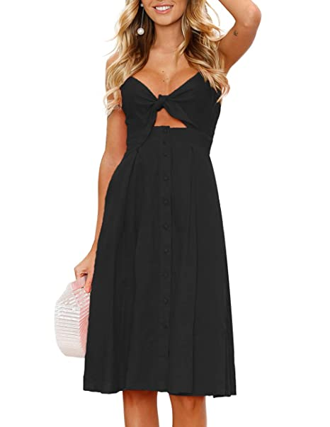 0c53bd6853 Image Unavailable. Image not available for. Color  Womens Dress Tie Front  Summer V Neck ...