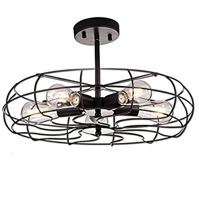 YOBO Lighting Oil Rubbed Bronze Vintage Barn Metal Ceiling Chandelier