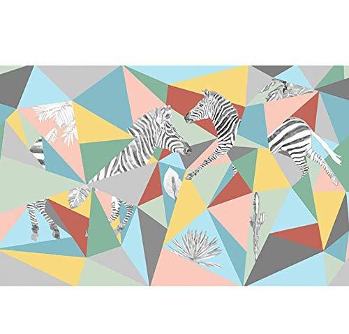 Nordic Geometric Zebra Pattern Triangle Wallpaper Living Room TV Background Wall, - Zebra Geometric