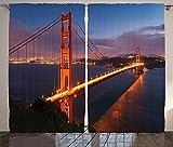 Apartment Decor Collection Panorama of Golden Gate Bridge Famous Architectural Scenery Headlands Landscape Print Living Room Bedroom Curtain 2 Panels Set Orange Blue