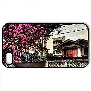 Power Outage Waiting to Happen - Case Cover for iPhone 4 and 4s (Houses Series, Watercolor style, Black)