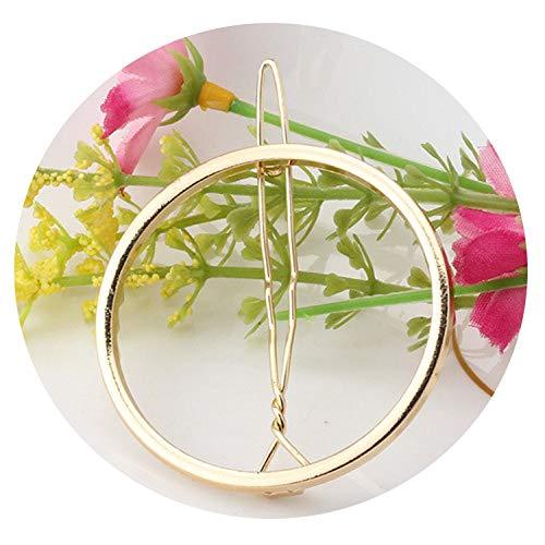 Victoria-show-headwear Fashion Woman Hair Accessories Triangle Hair Clip Pin Moon Circle Hairgrip,Gold Round -
