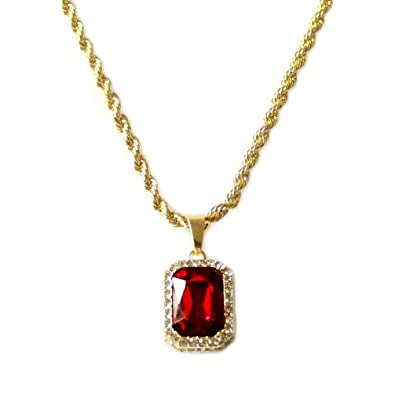 Hh bling empire mens celebrity style hip hop 18k gold synthetic ruby hh bling empire mens celebrity style hip hop 18k gold synthetic ruby diamond pendant necklace mozeypictures Choice Image