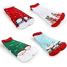Cusfull 4 Pack Toddler Socks Christmas Kids Socks Holiday Cotton Funny Crew Socks for Gift