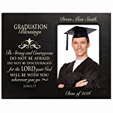 LifeSong Milestones Personalized Graduation gifts for graduate ideas for men and women custom wall cross Be Strong and Courageous Joshua 1:9 (Black)