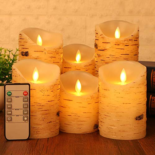 Flameless LED Candles Flickering Light Pillar Real Birch bark Wax with Timer and 10-Key Remote for Wedding,Votive,Yoga and Decoration Set of 6 ()