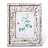 BOLUO Farmhouse Picture Frames 5x7 Distressed White Natural Wood Rustic Photo Frame Weathered Farm Decor