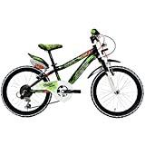 Lombardo Artemis Kids Bike, 20 inch Wheels, 11 inch Frame, Boy's Bike, Black/Green, 99% Assembled