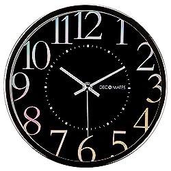 DecoMates Non-Ticking Silent Wall Clock, Metallic Shimmer, Black