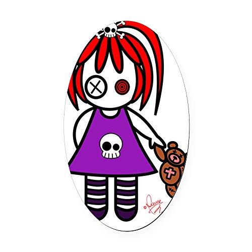 CafePress - Cute Gothic Redhead Little Girl Oval Car Magnet - Oval Car Magnet, Euro Oval Magnetic Bumper Sticker -