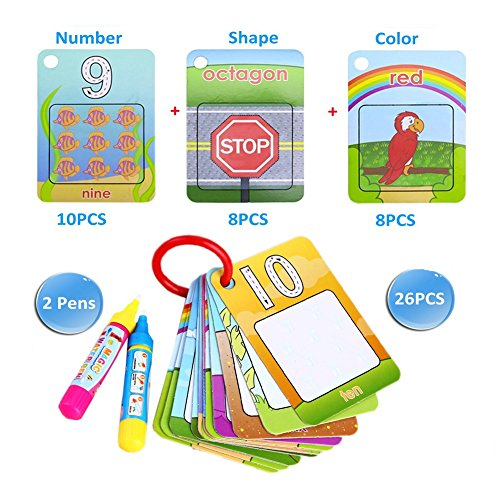Coolplay Water Magic Cards Drawing Cards Doodle Toy Gift - Shape,Number,Color