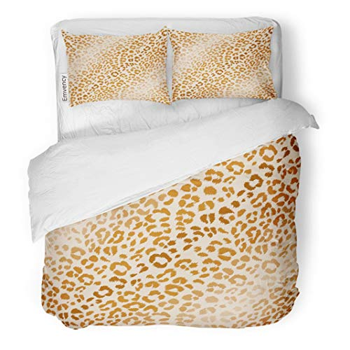 Tarolo Bedding Duvet Cover Set Colorful Animal Natural Colors Leopard Pattern Scrap Booking Ornamental and Cheetah Hide 3 Piece Twin 68