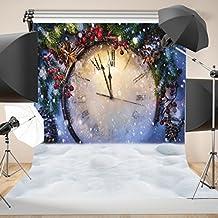 WOLADA 10X10ft Christmas Clock Bakcdrops Snow Photography backdrops vinyl Photo background Studio Props 10801