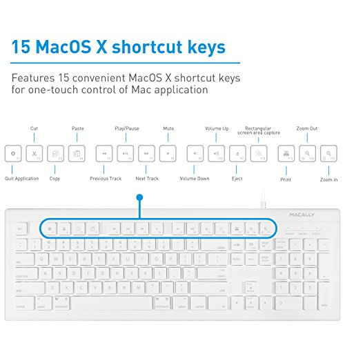 51wZN3JmAtL - Macally Full Size USB Wired Keyboard (MKEYE) for Mac and PC (White) w/ Shortcut Hot Keys