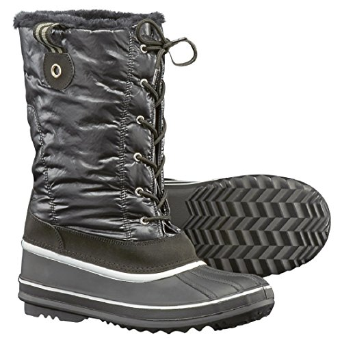 Faux Lining Boots Fur Fleece Quilted Duck Trim Women's Black Proof and Weather Verbier Winter nYxAw8qxvU