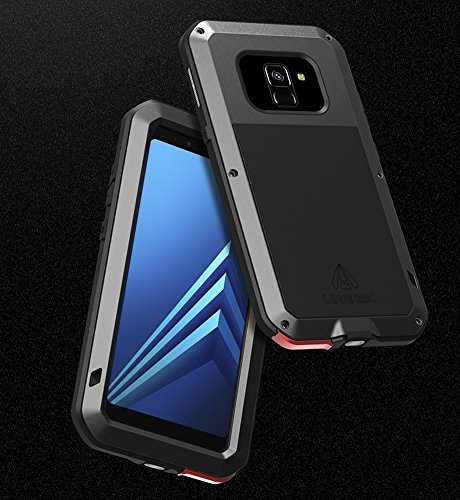 Love MEI Waterproof Aluminum Case Samsung Galaxy A8 Plus (2018 Version) Tempered Glass Screen Cover Protector Black [Two-Years Warranty] by Love Mei (Image #8)