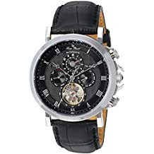 Lucien Piccard Men's 'Acropolis' Stainless Steel and Leather Automatic Watch, Color:Black (Model: LP-40021A-01)
