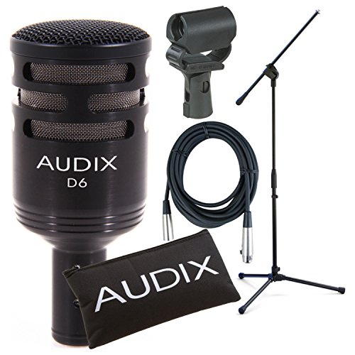 Audix D6 Cardioid Kick Drum Microphone w/ Boom Mic Stand, 20' XLR Cable, and ShockProof Mic Clip