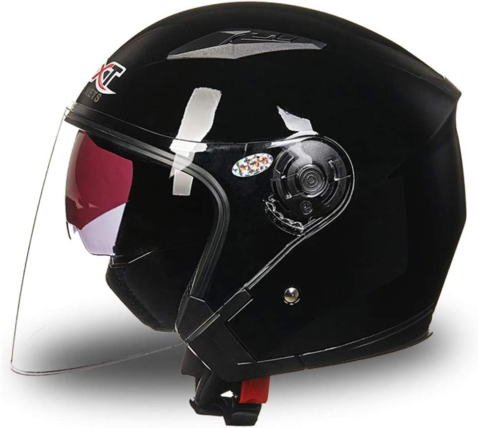 Motorcycle Half Helmets Open Face Motorbike Flip Up Front Double Visor Scooter Crash Helmet for Adult Men//Women