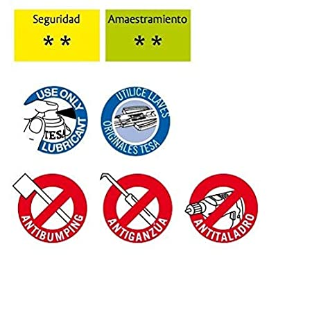 Tesa Assa Abloy 3012430 Cilindro Tesa Seguridad T60 /30x30. Niquelado Leva Corta, 30x30 mm