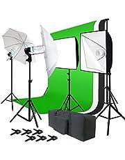 Julius Studio 10 x 9.6 feet Large Heavy Duty Backdrop Stand with 6 x 9 feet Backdrop Green, White, Black Background Screen, 900W Soft Box Umbrella Reflector Lighting Kit, JSAG195 photo