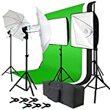 Julius Studio Photo Studio Kit 6 x 9 ft. Green White Black Muslin Backdrop Screen & Supporting System, Umbrella Reflector, Light Bulb, Soft Box Light Diffuser, Socket, Tripod Light Stand, JSAG195