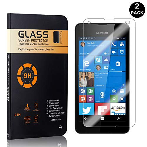 Nokia Microsoft Lumia 550 Tempered Glass Screen Protector, UNEXTATI Premium HD Clear Anti Scratch Tempered Glass Film for Nokia Microsoft Lumia 550 (2 Pack) (Nokia Lumia 550)