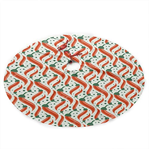 GIPO1H Retro Camper Cartoon Red Hot Chili Peppers Christmas Tree Skirt,Traditional Christmas Tree Mat Double Layers for Xmas Party Decoration