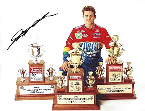 AUTOGRAPHED Jeff Gordon #24 DuPont Racing 3X NASCAR WINSTON CUP CHAMPION (Trophy Pose) Vintage Hendrick Motorsports Signed Collectible Picture 9X11 Inch NASCAR Glossy Photo with COA ()