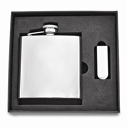 2 Pack Tankard Set - ICE CARATS 6 Oz. Stainless Steel Flask Money Clip Gift Set Man Tankard Bar Wine Smoking Key Ring Wallet Fashion Jewelry Gift for Dad Mens for Him
