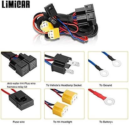 LIMICAR H4 9003 Relay Wiring Harness H6054 H4 Socket Plugs H4 Headlamp  Light Bulb Ceramic Socket Plugs Relay Harness Kit for 7