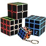 ZCUBE [Four PCS] Rubiks Cube 3x3 2x2 Mirror Cube Keyring Keychain Carbon Fiber Sticker Magic Cube Set Brain Teaser Puzzle for Educational Toys
