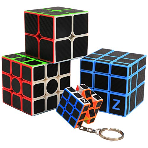 ZCUBE [Four PCS] Rubiks Cube 3x3 2x2 Mirror Cube Keyring Keychain Carbon Fiber Sticker Magic Cube Set Brain Teaser Puzzle for Educational Toys