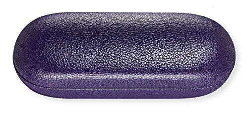 Hard Eyeglass Case For Women & Men, Small To Medium Frames, Faux Leather, Purple