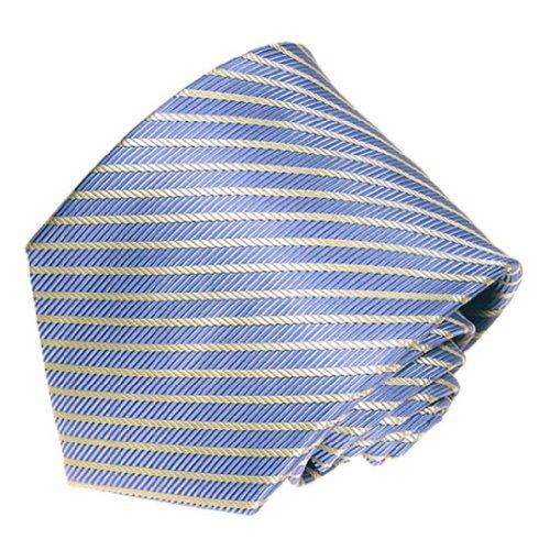 - Covona Men's Light Blue White Stripe Tie