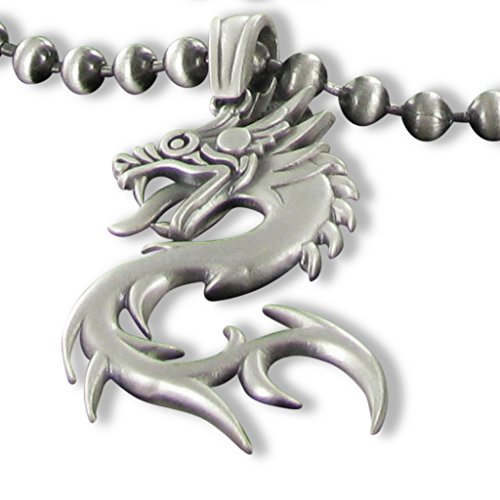 Dragon pendant Bico Australia Jewelry Silver finish with Adjustable size Bico Ball chain -
