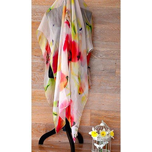 Foulard di Seta 100% Naturale Motivo viwin & Silk, 175x 100cm, New 2016