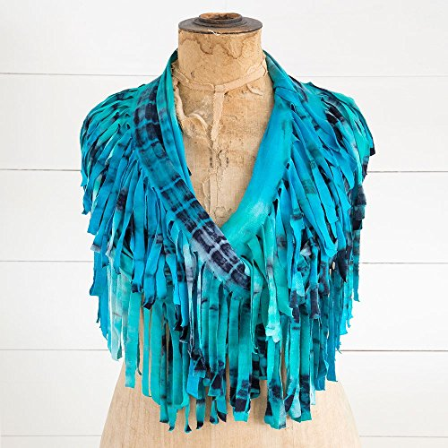 Tie Dye Fringe Scarf - Natural Life Infinity Fringe Scarf, Turquoise/Navy Tie-Dye