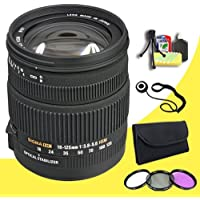 Sigma 18-125mm f/3.8-5.6 DC Autofocus Zoom Lens for Maxxum & Sony Alpha Mount Digital Cameras + 67mm 3 Piece Filter Kit + Lens Cap Keeper + Deluxe Starter Kit DavisMAX Bundle