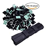 Adhesive Cable Clips Wire Holder (100 Pack) with Reusable Fastening Cable Ties(50 pack) for Wire Management in Office, Home and Car (Black)
