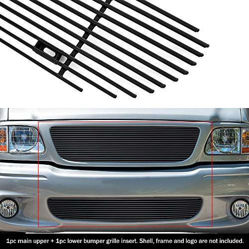 2001 Aluminum Grille - APS Compatible with 99-03 Ford F-150 Lightning Black Billet Grille Combo F87932H