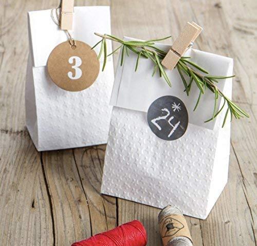 50 Pezzi Sacchetti di Carta con❤adesivi 14x26x8cm Carta regalo Buste Shopper Biodegradabili Sacchettini Carta Kraft Ideali per Caramelle compleanno Confettata Confetti Portaconfetti Alimenti Bianchi