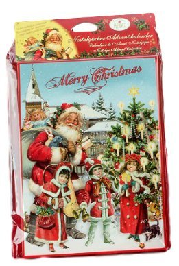 Confiserie Heidel Imported German Chocolate Advent Calendar (Santa Outside (Red Text))
