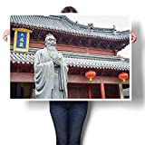 """SCOCICI1588 Canvas Prints Abstract Pictures Confucius Statue Text Pavilion Translat into English Oils,48"""" W x 28"""" L on Canvas Wall Art for Home Decorations (Frameless)"""