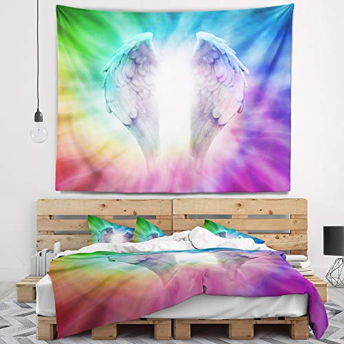 Designart TAP12357-39-32 'Angel Wings on Rainbow Background' Abstract Blanket Décor Art for Home and Office Wall Tapestry, Medium: 39 in. x 32 ()